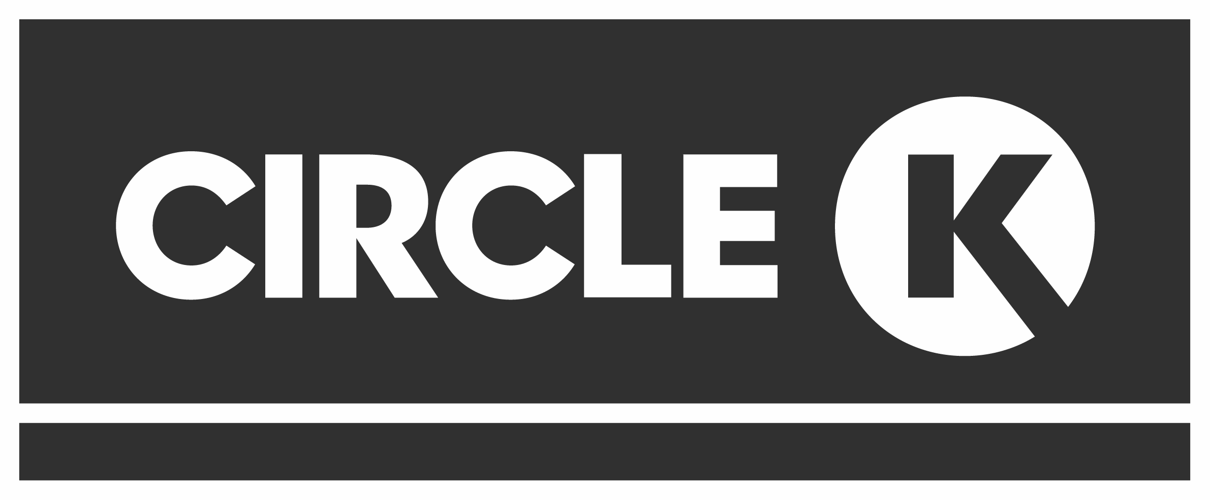 The logo of Circle K in a dark color