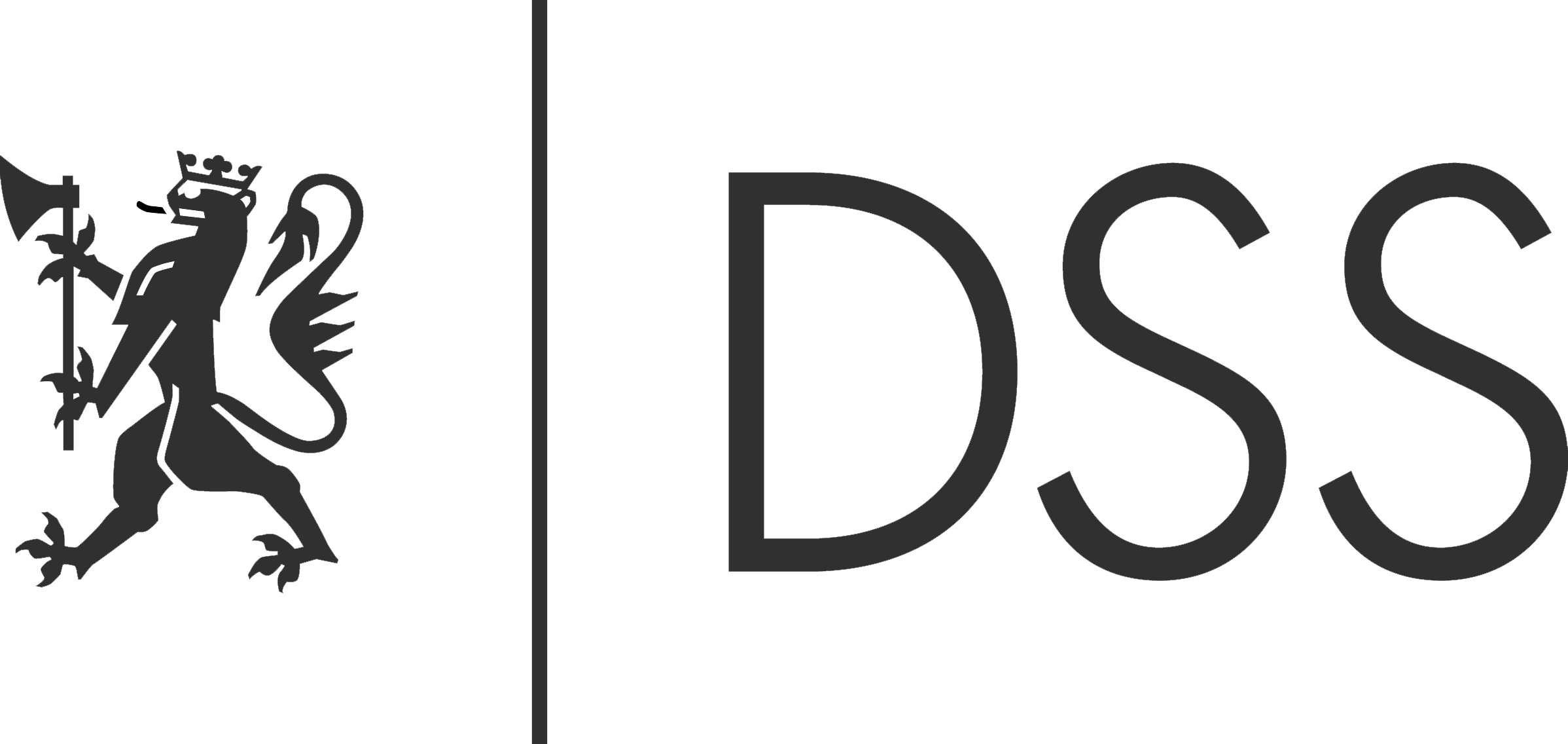 The logo of DSS in a dark color
