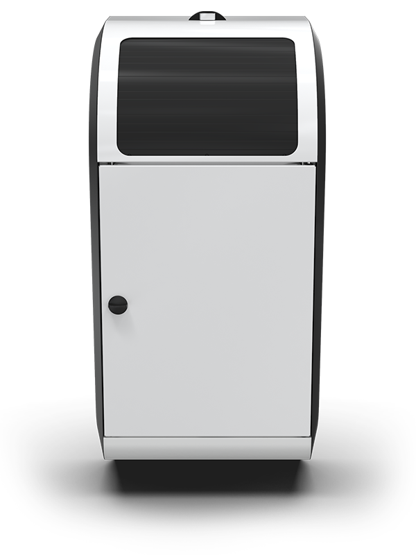 A white Compax One paper towel waste compactor from the front with its lid closed