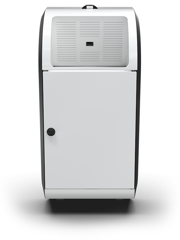 A white Compax One paper towel waste compactor from the front
