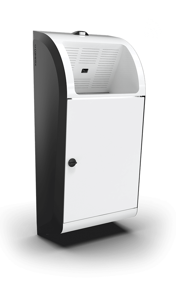 A white Compax One paper towel waste compactor with a wireless connection icon