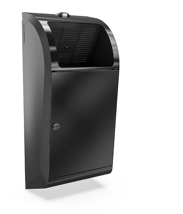 A black Compax One paper towel waste compactor