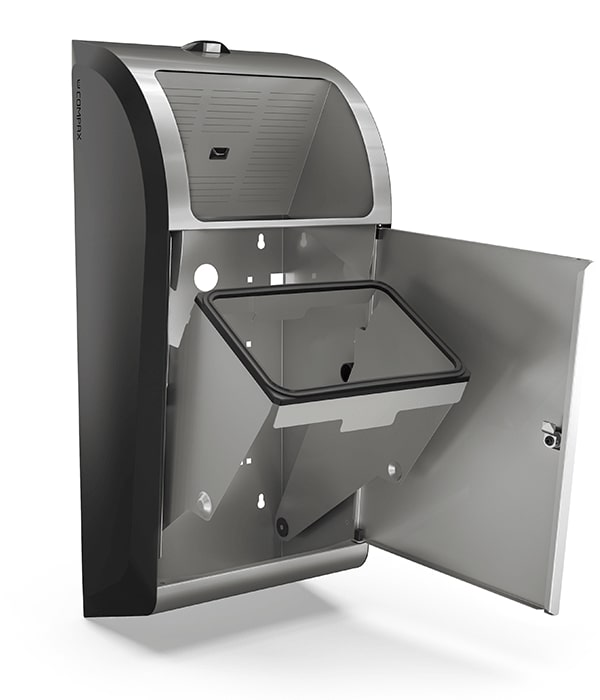A grey Compax One paper towel waste compactor with its door open