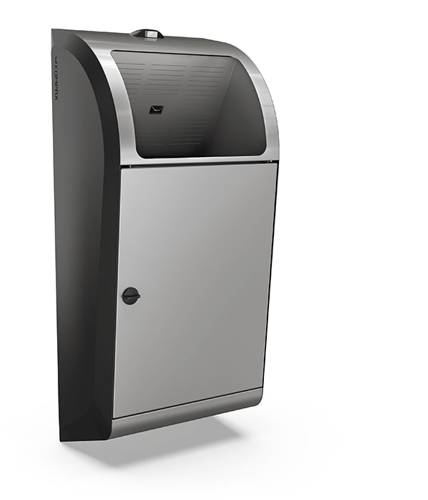 A grey Compax One paper towel waste compactor