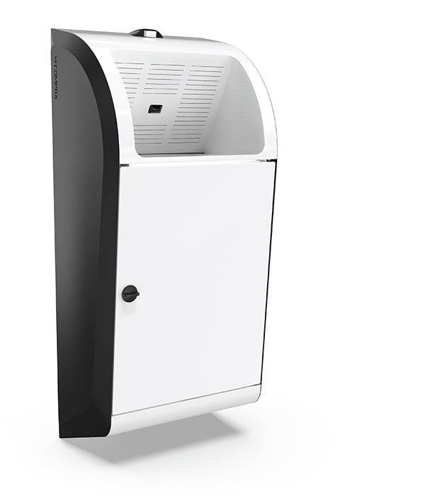 A white Compax One paper towel waste compactor