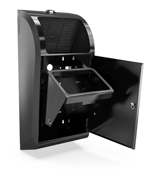 A black Compax One paper towel waste compactor with its door open