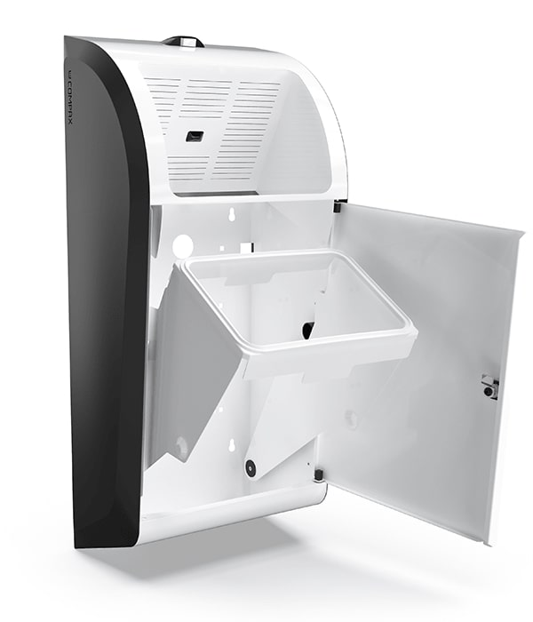 A white Compax One paper towel waste compactor with its door open