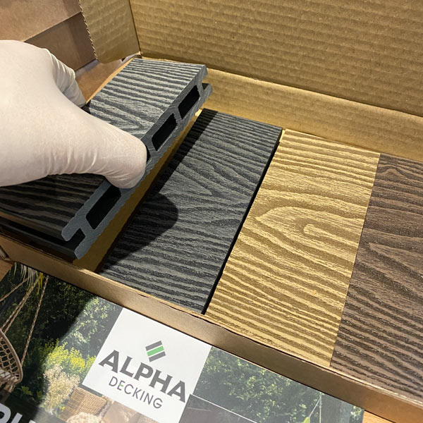 A sample box of our Composite Decking containing all 4 colours