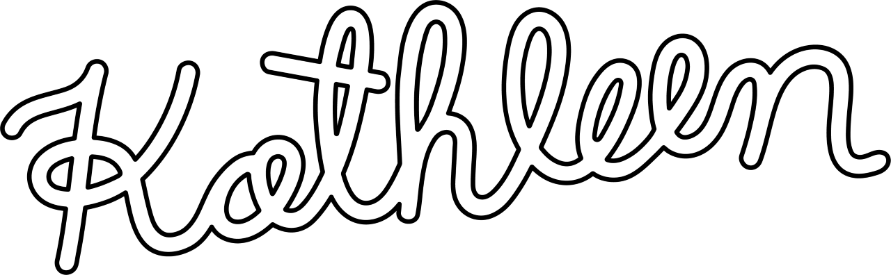 Logo of Shop Kathleen, spelling out the Kathleen in a fun cursive font