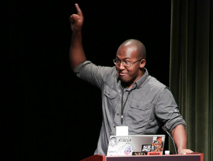 Xalavier Nelson giving a talk