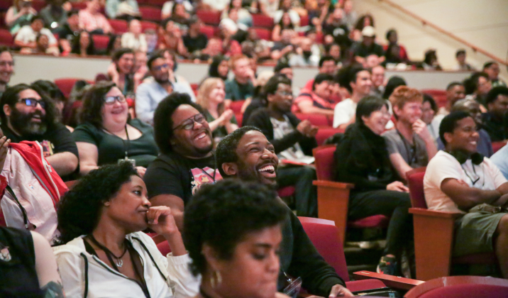 Crowd of beautiful people at the Schomburg Center in Harlem
