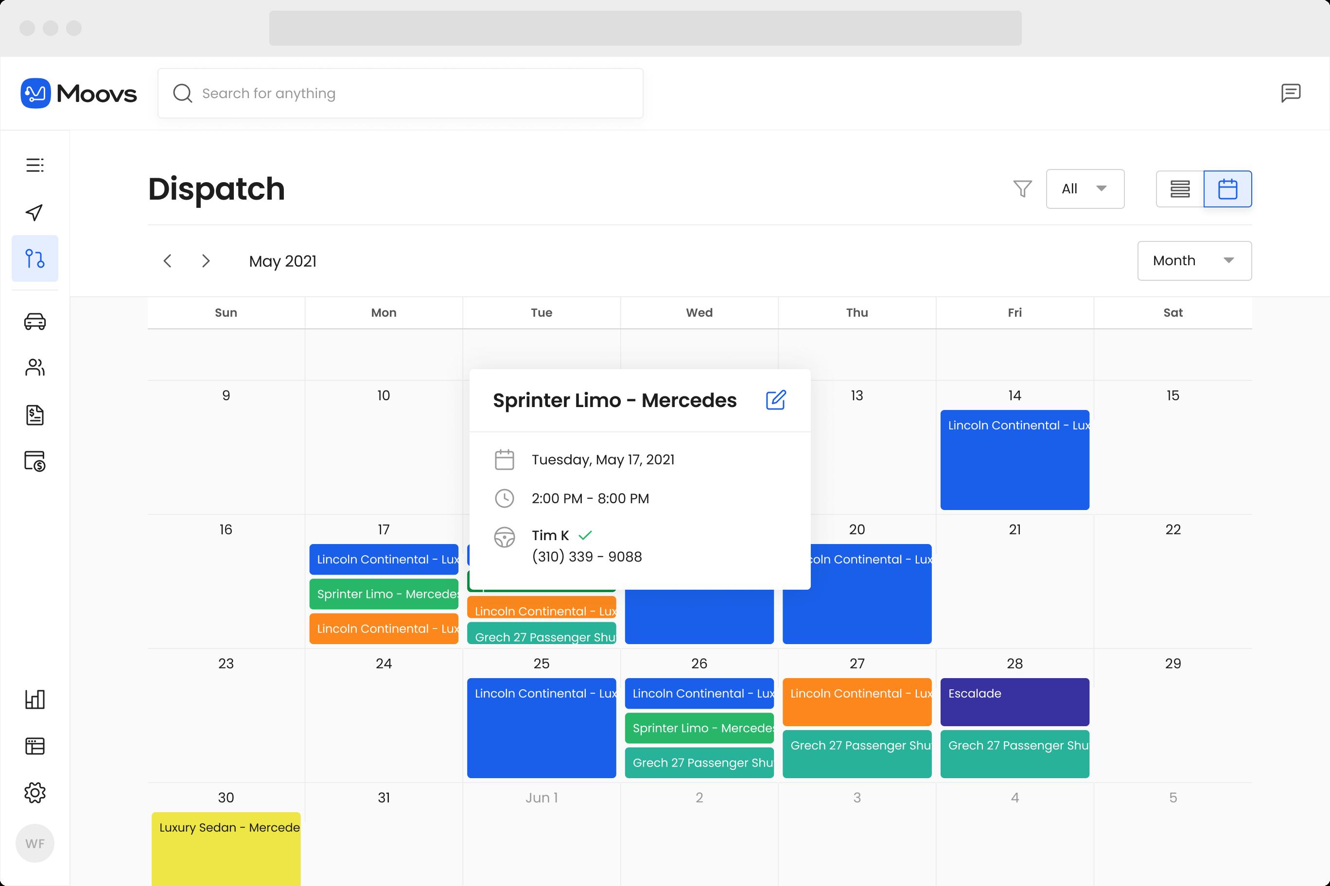 Dispatch calendar view interface