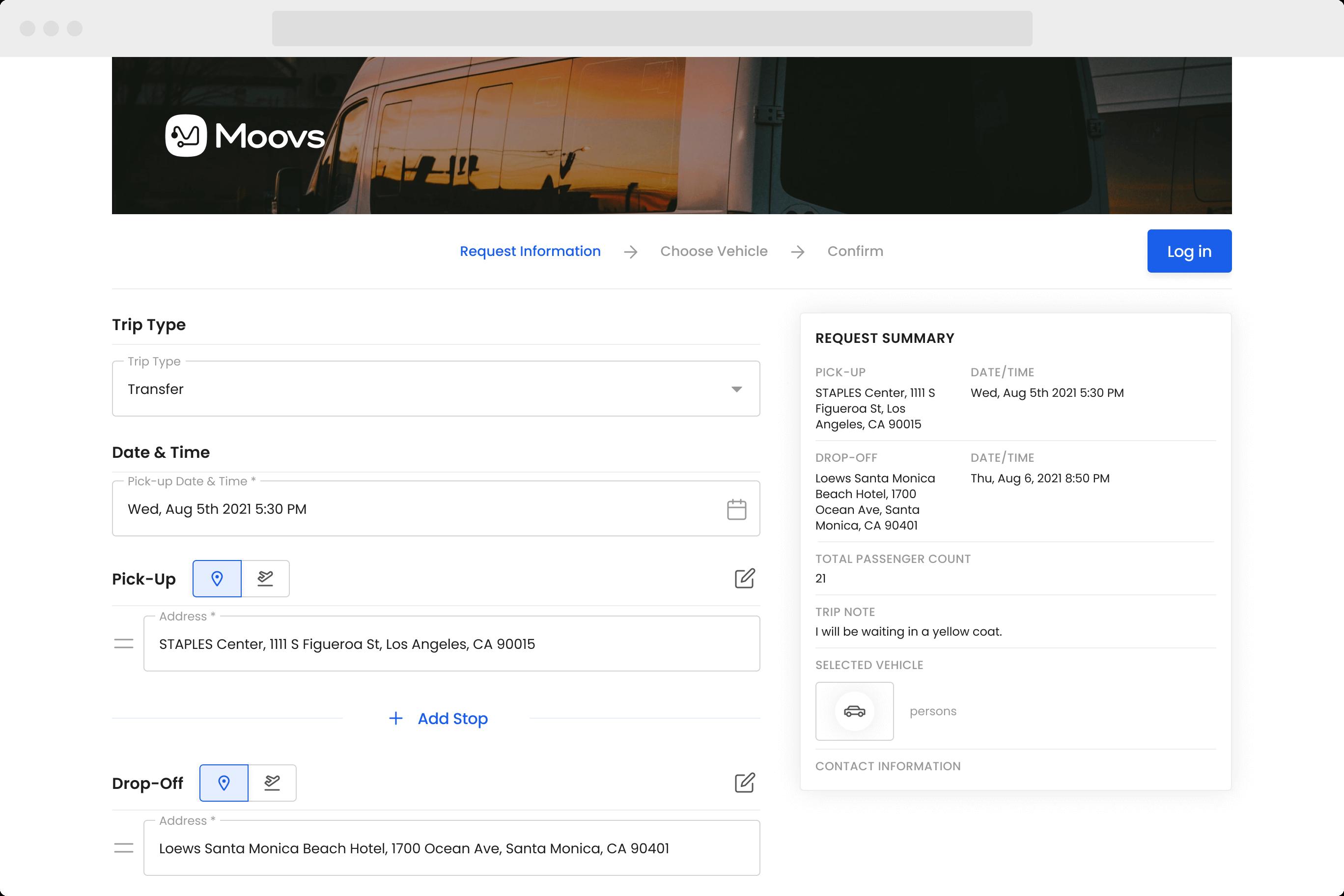 Customer booking tool interface