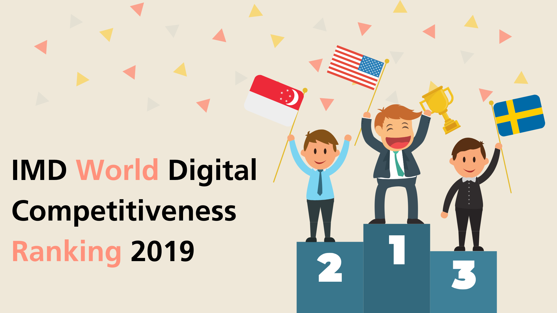 The top 3 position for the IMD World Digital Competitiveness Ranking 2019 consists in order are USA, Singapore and Sweden with the people representing their country celebrating this achievement.