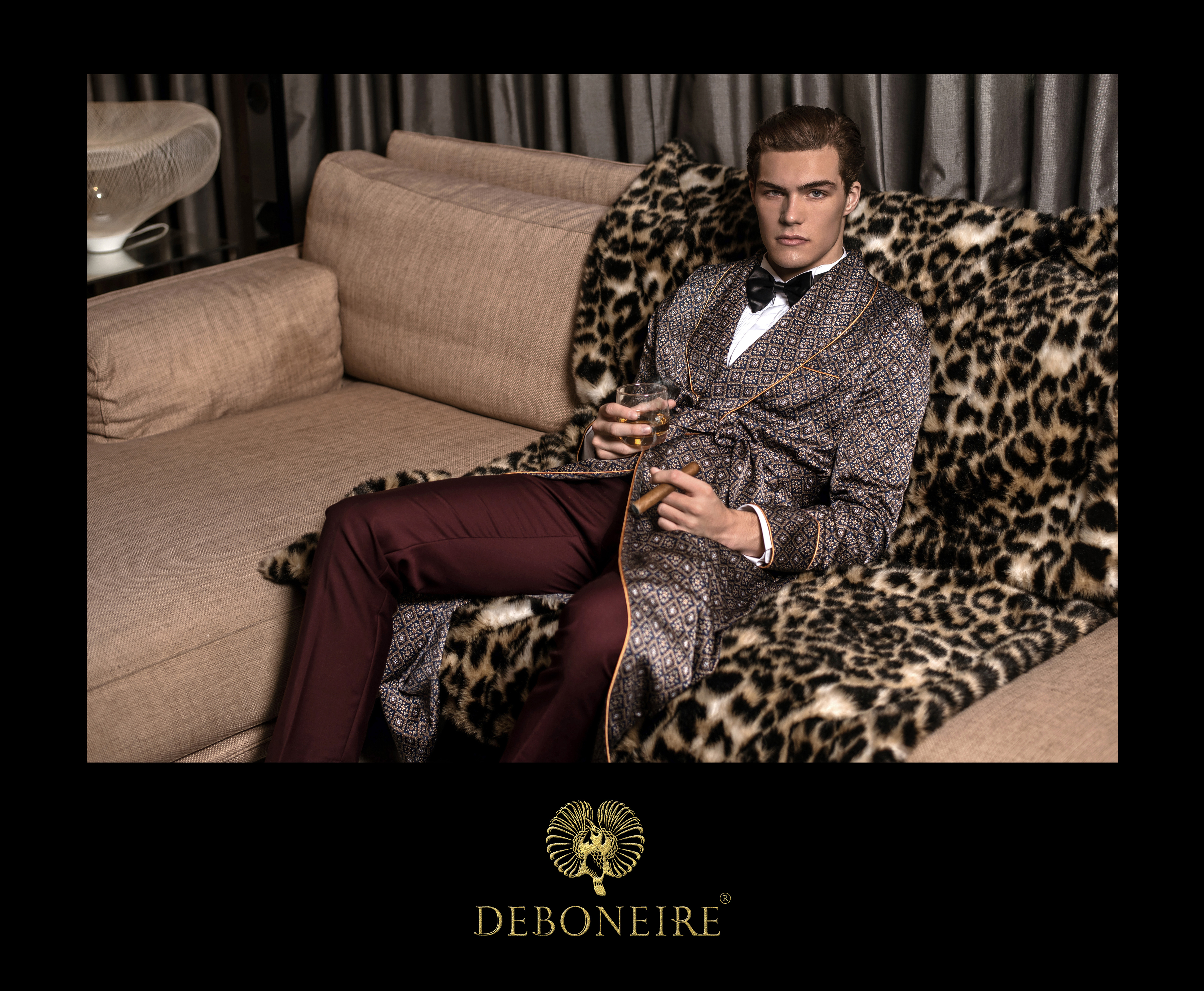 DEBONEIRE men's fashion bespoke tailoring with exquisite fabric.