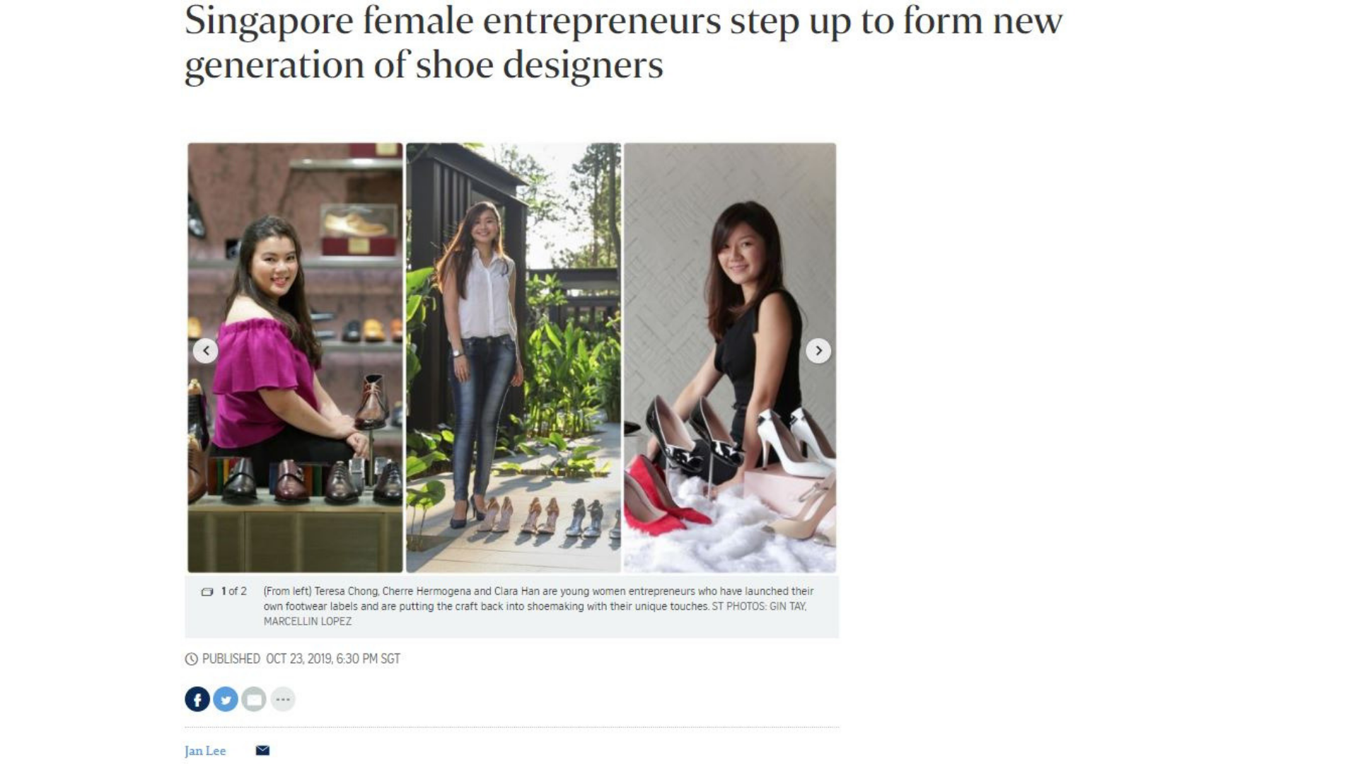 A snippet of a newspaper article written by Jan Lee with a headline: Singapore Female Entrepreneurs step up to form new generation of shoe designer.
