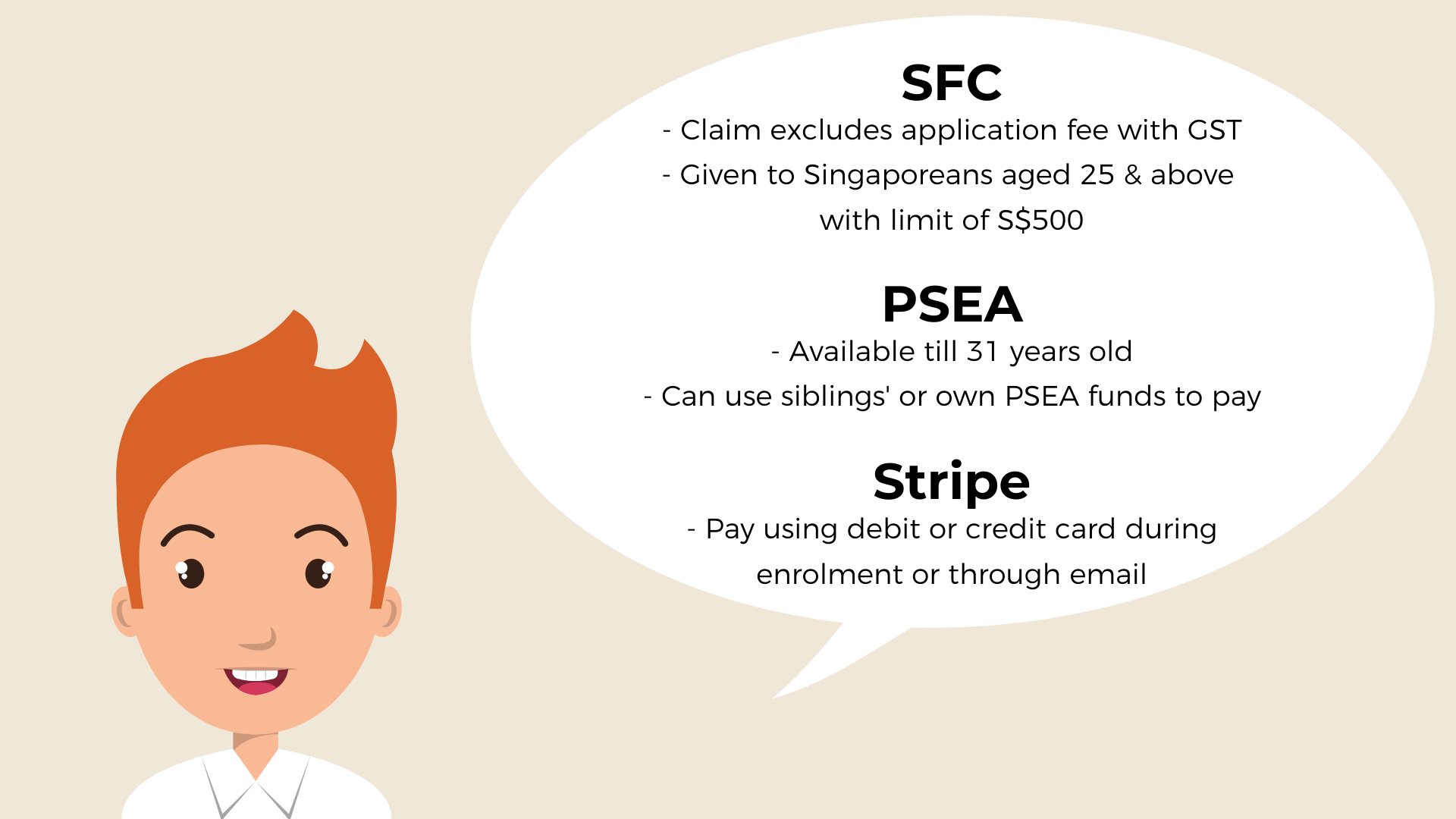 Staff of TaF.tc explains the different modes of payment available to use for courses which includes SFC, PSEA and Stripe via debit or credit card.