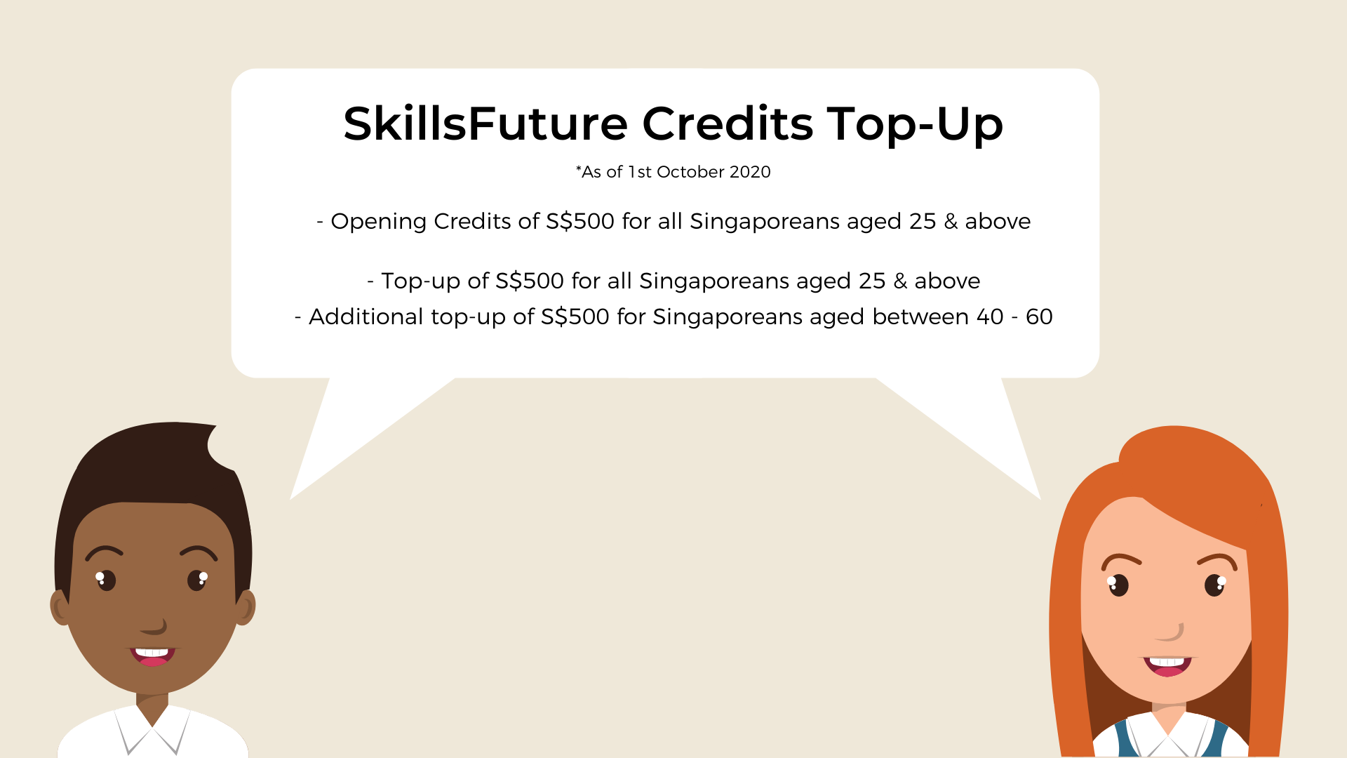 Infographic regarding the latest top-up of SkillsFuture Credits given by the Government.