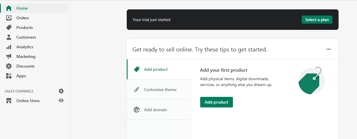Set up your online store in the admin page!