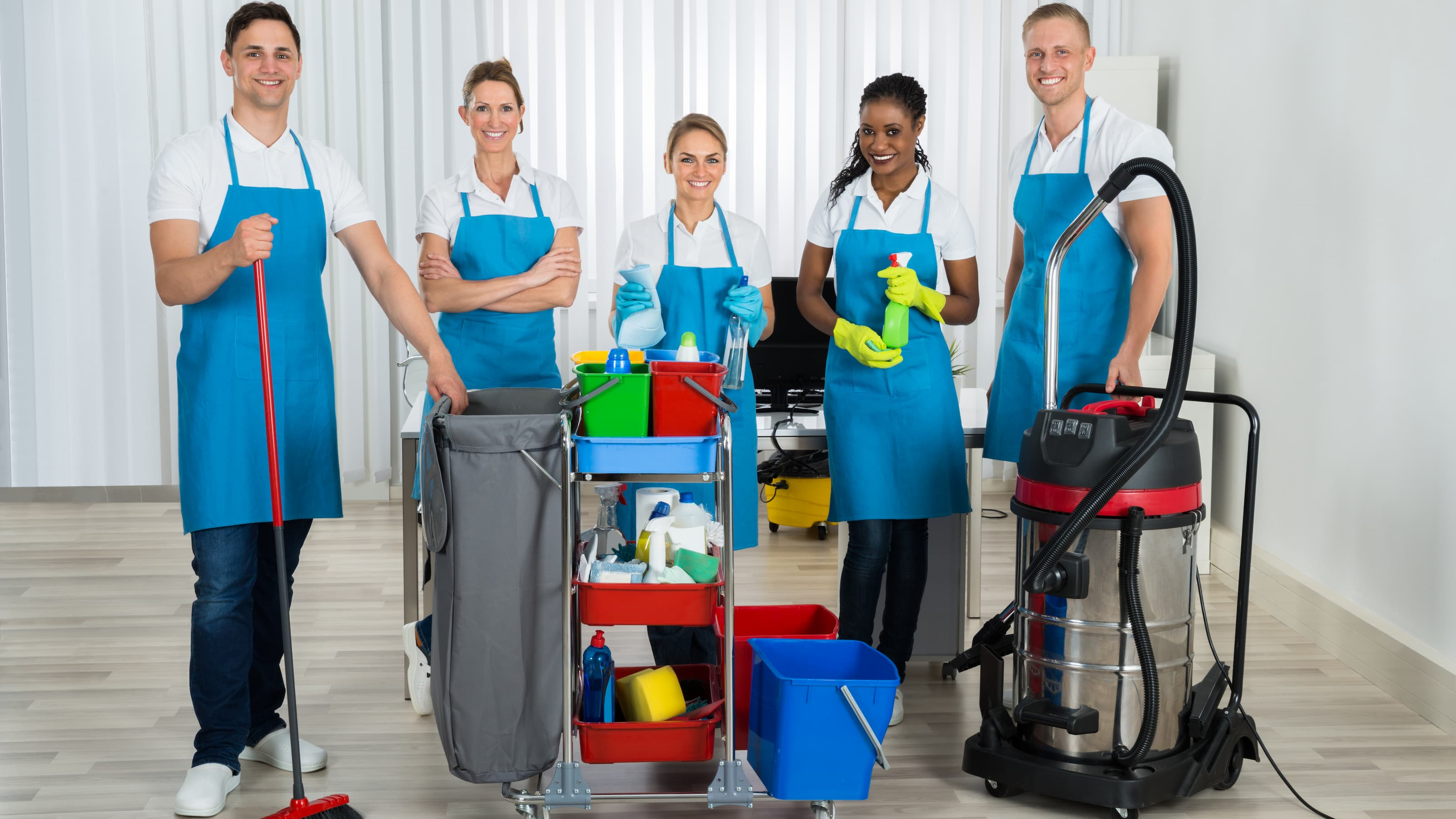 Professional Office Cleaners had just finished their first day of office cleaning.