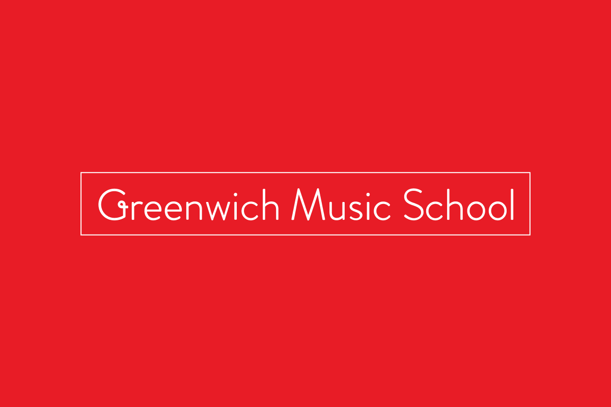 White Greenwich Music School logo on a red background