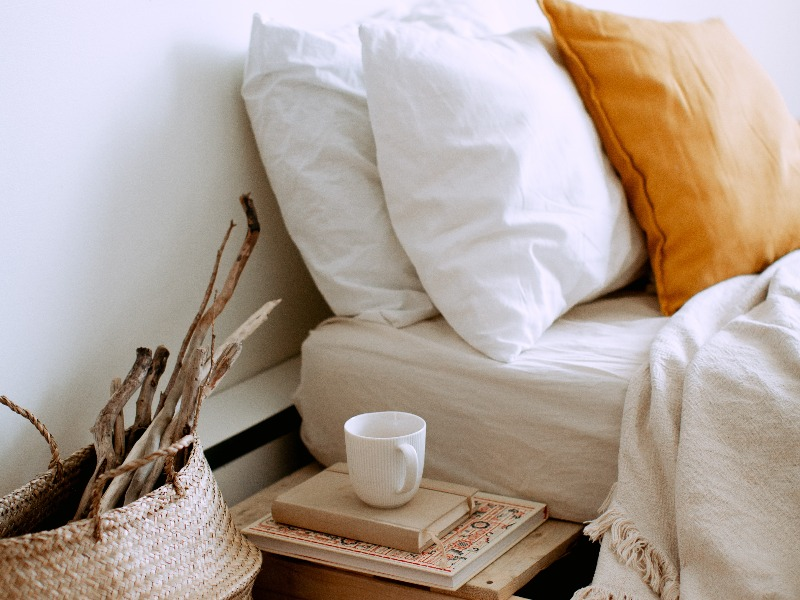 bed and cup on the side