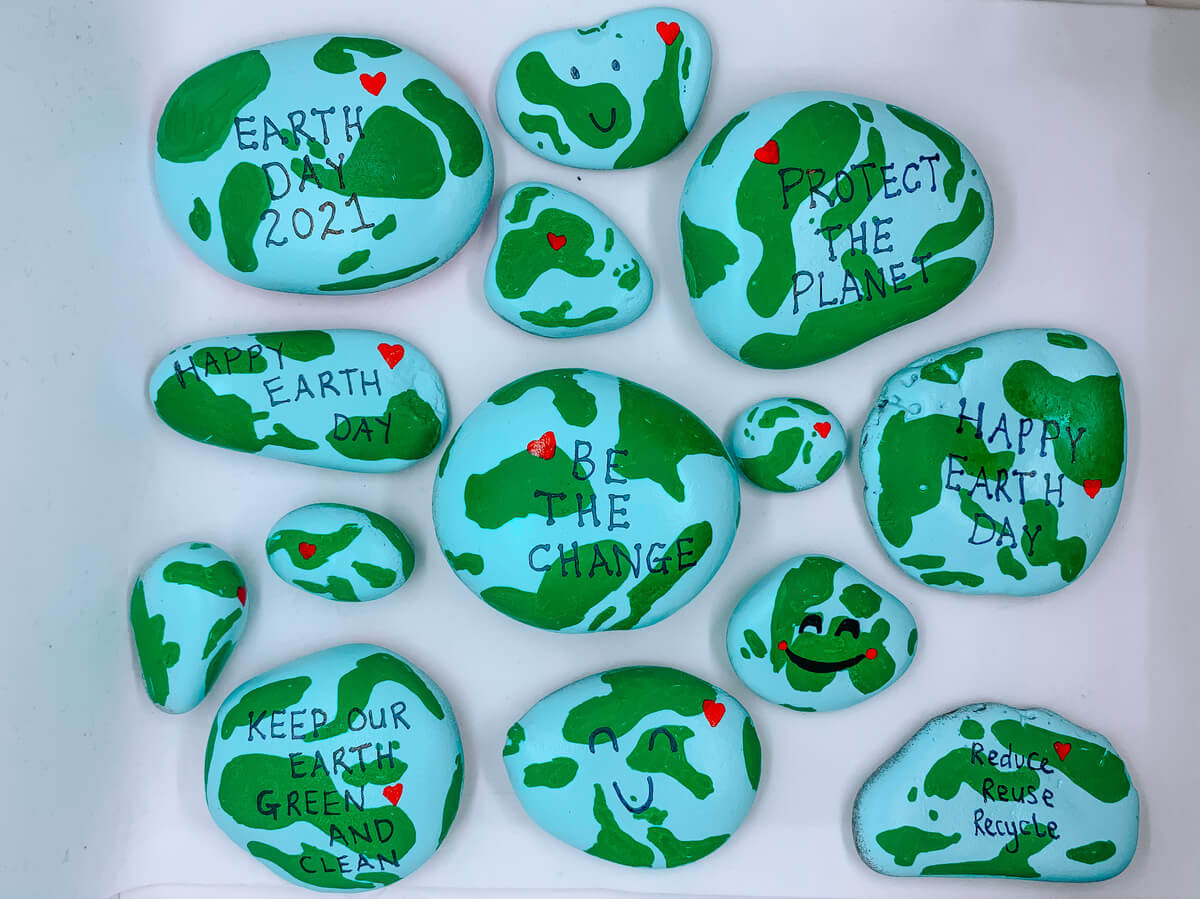 Earth Day Painted Rocks - Mother Of Grom