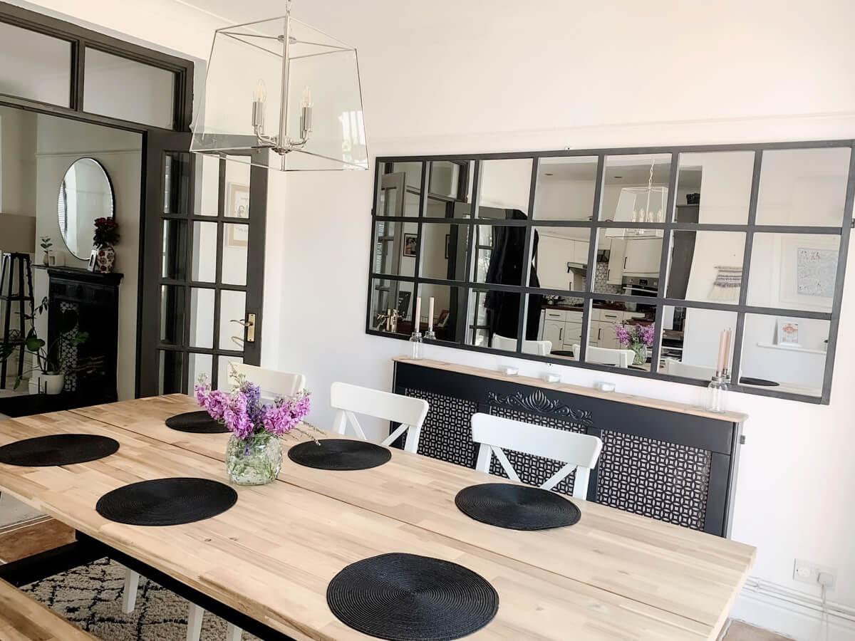 Mother of Grom Home - Huge, industrial gid-mirror Ikea Hack