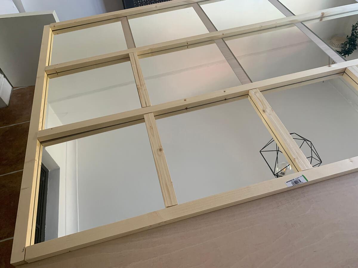 Mother of Grom Home - Huge, industrial grid-mirror Ikea Hack