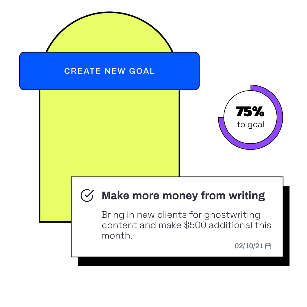 Mockup of a button saying create a new goal and a goal item to make more money from writing.