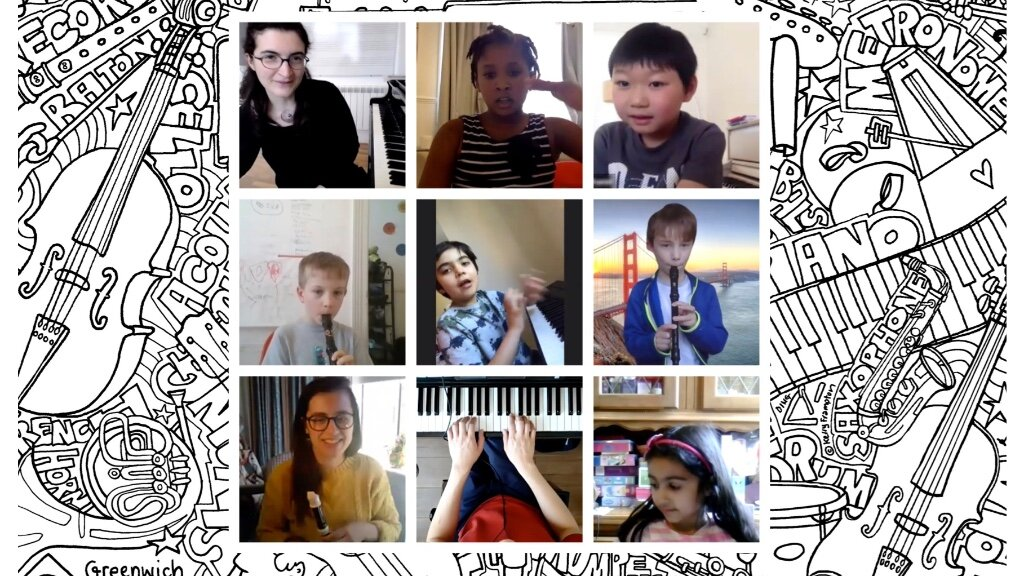 A collage of Greenwich Music School online concerts