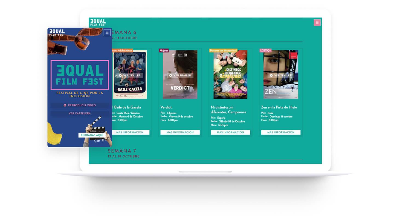 Esta es una imagen ilustrativa del diseño web creado para Equal Film Fest