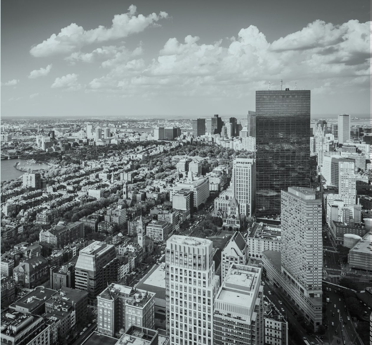 A view of Boston perspective from a tall building