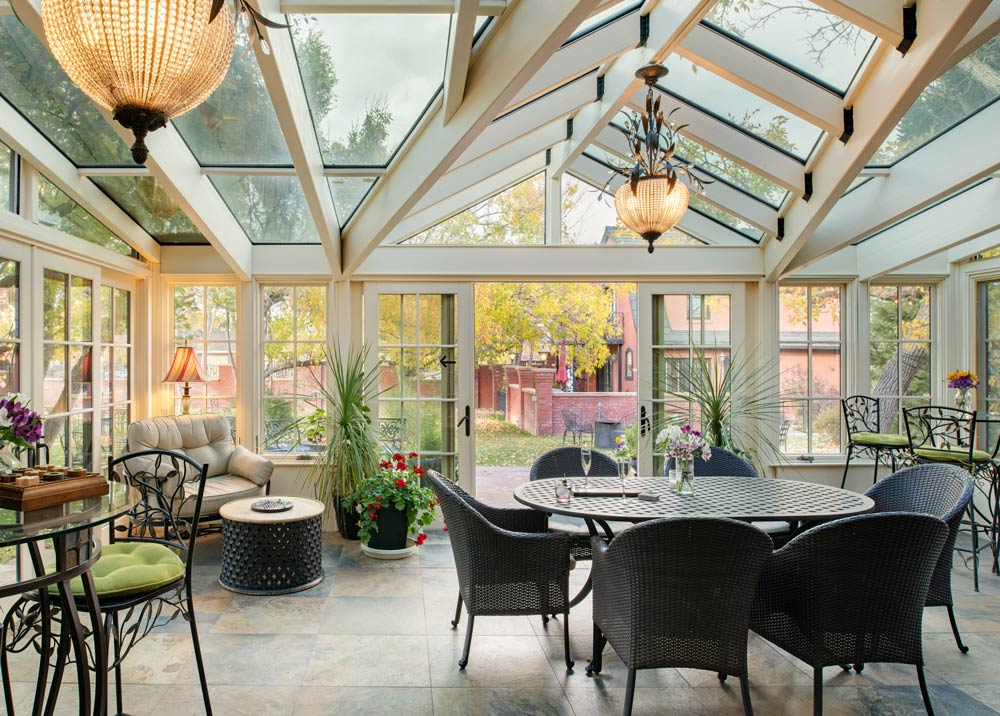 Glass enclosed conservatory at the best luxury hotel in Cody