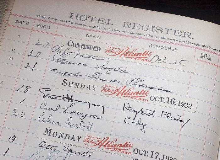 Ledger signed by Ernest Hemingway on display at the Chamberlin inn