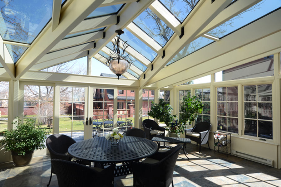 Glass enclosed sunroom at the Chamberlinn inn luxury hotel