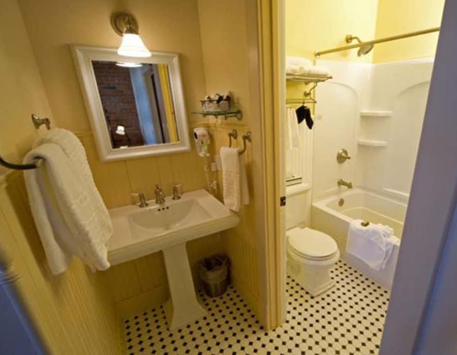 Luxurious tiled bathroom at the Chamberlin inn, Cody, Wyoming.