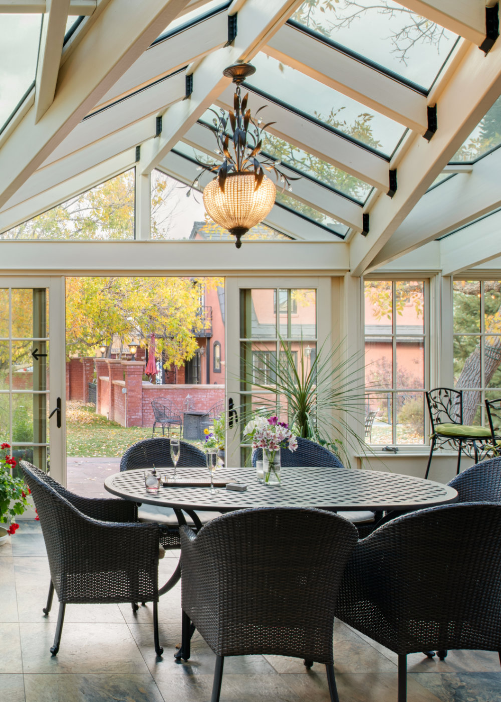 Glass enclosed conservatory at the luxury hotel in Cody Chamberlin inn