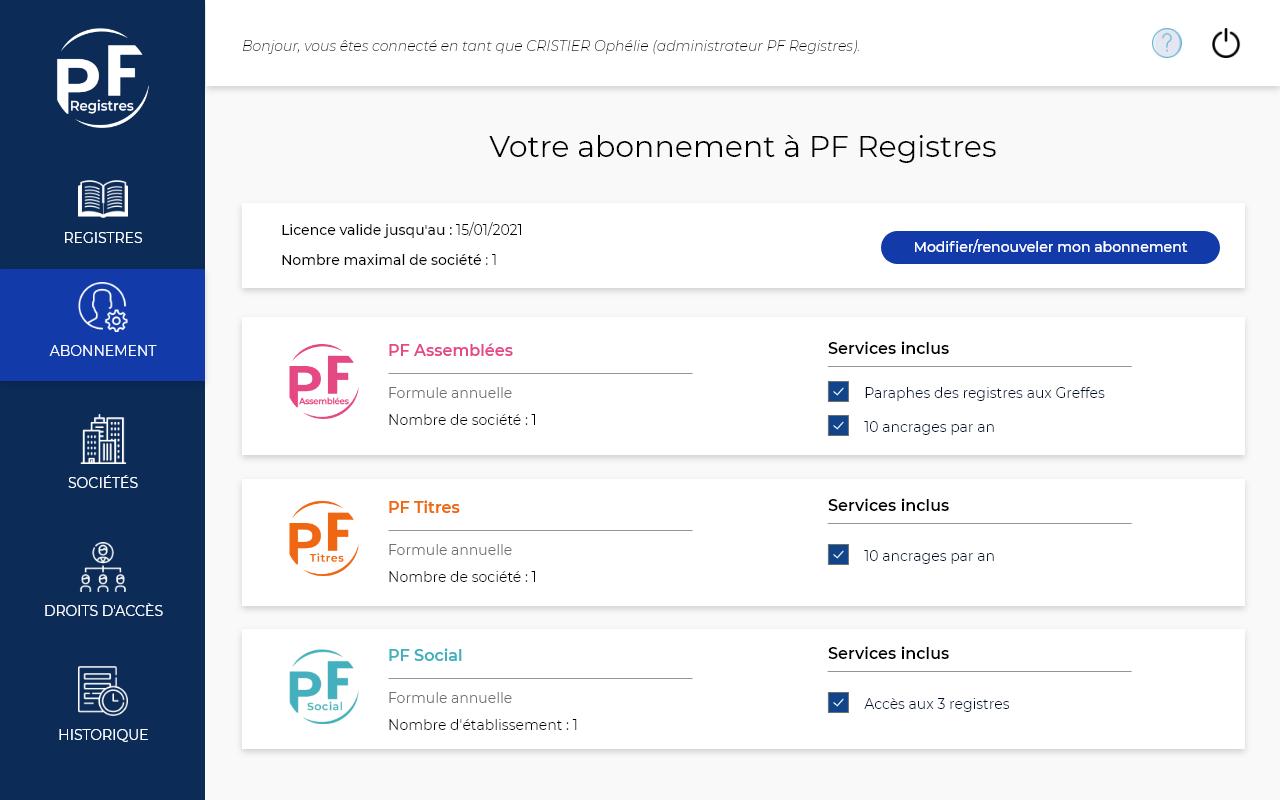 "Capture d'écran de la rubrique ""Abonnement"" de l'application PF Registres"