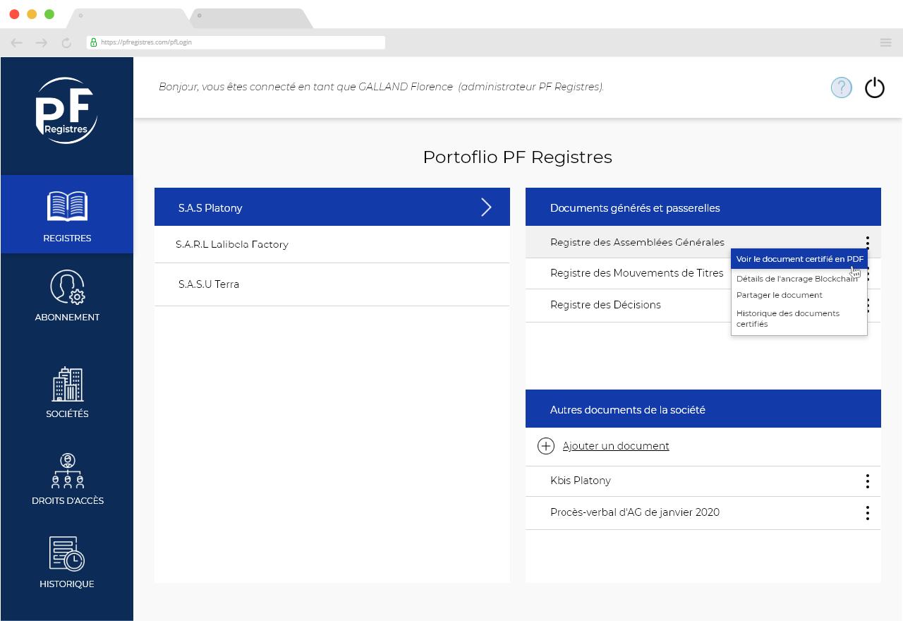 Capture d'écran de l'accueil de l'application PF Registres