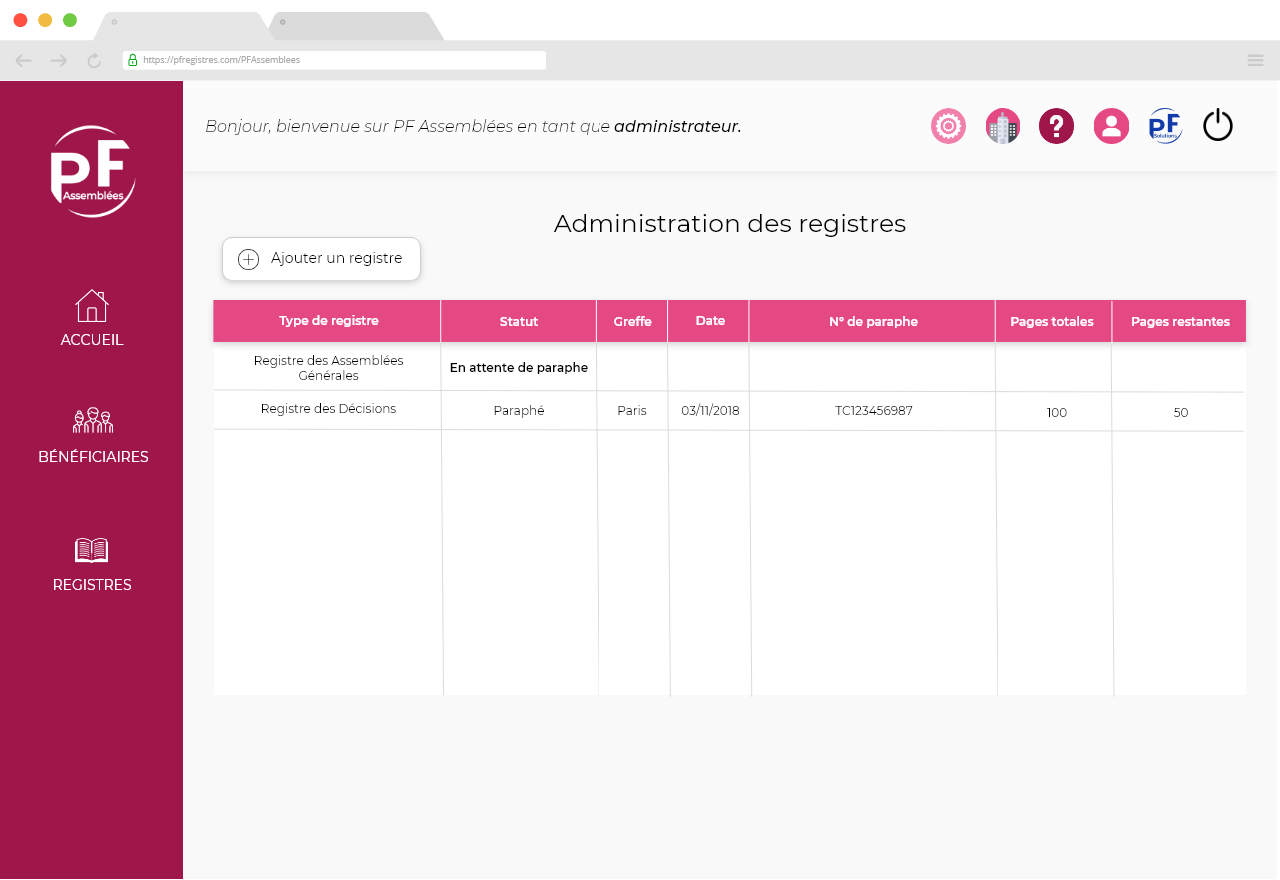 Capture d'écran représentant l'administration des registres.