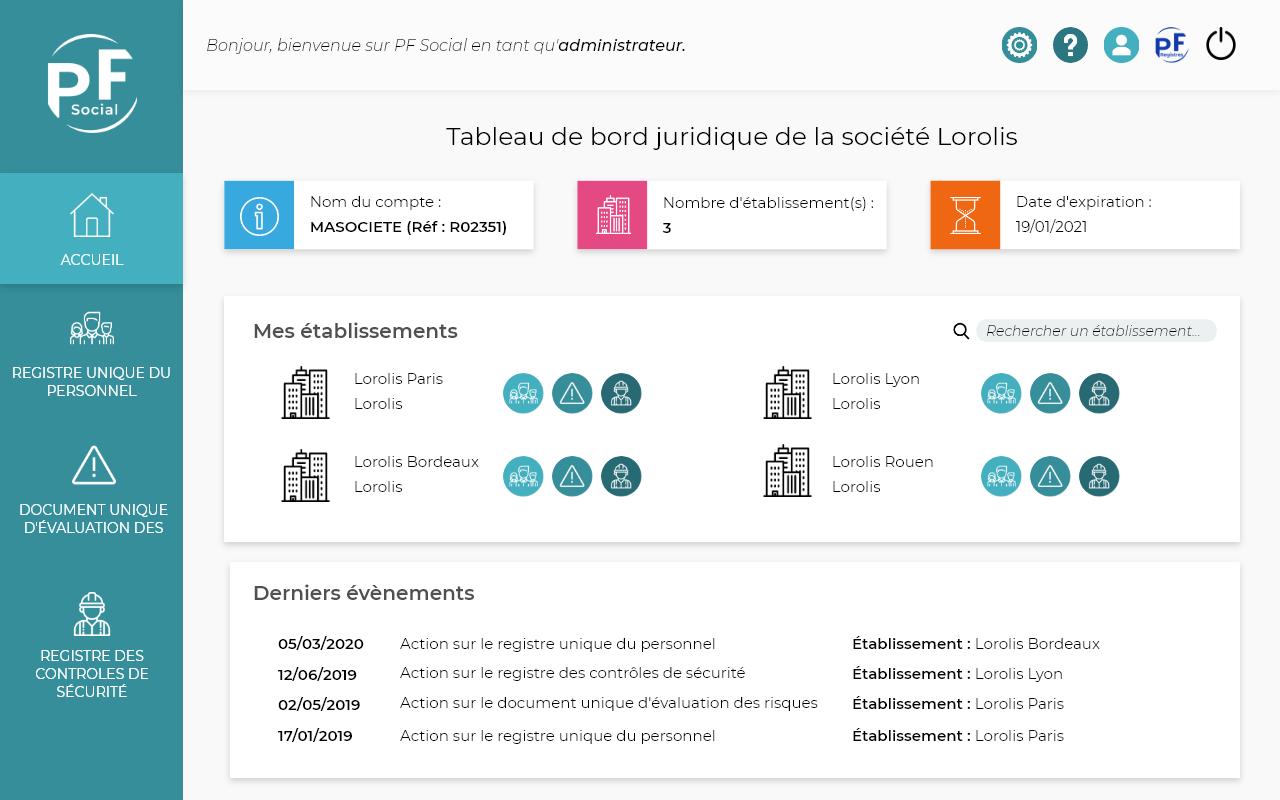 "Capture d'écran de la page d'accueil de l'application ""PF Social"""