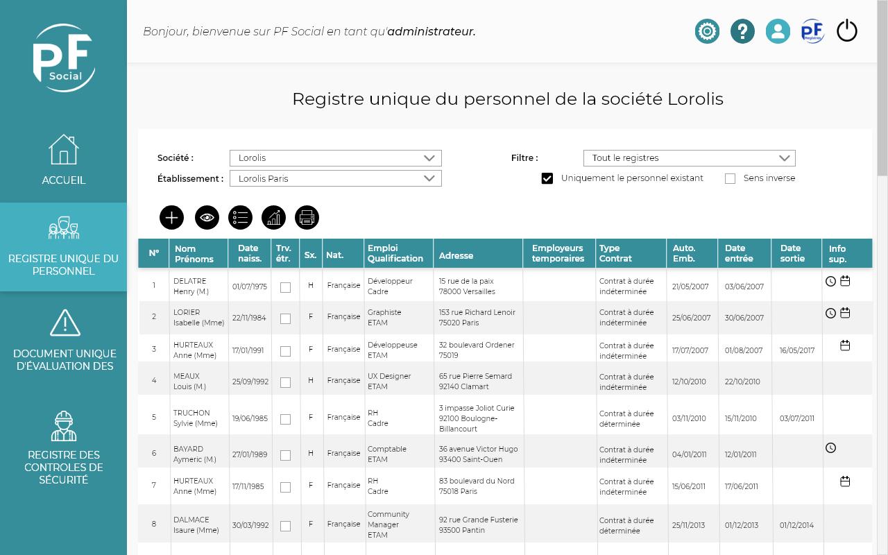 Capture d'écran du registre unique du personnel de PF Social