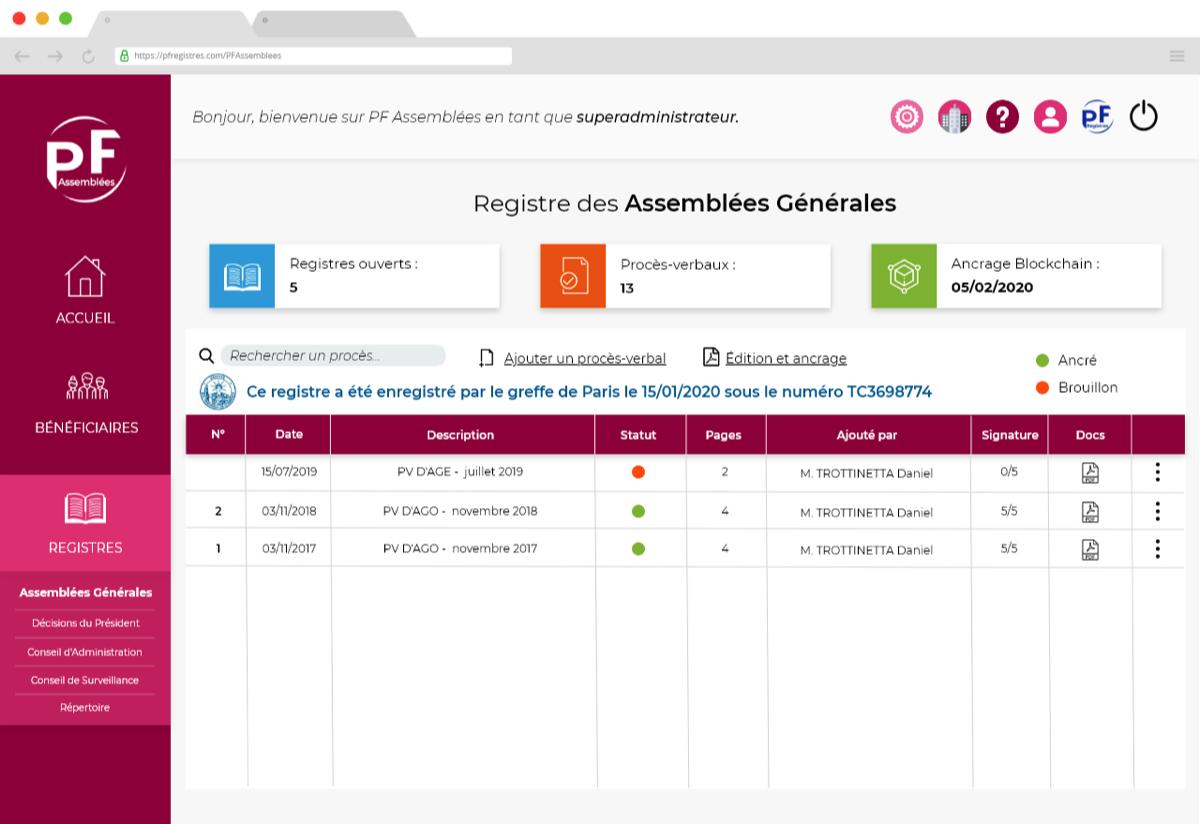 Capture d'écran de l'application PF Assemblées