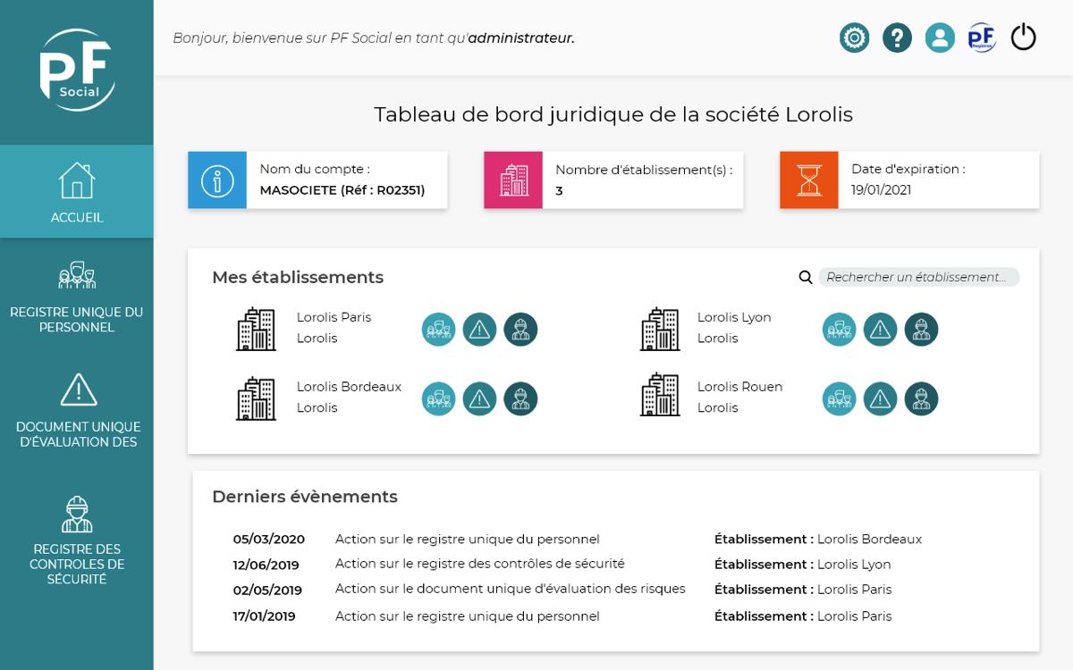 Capture d'écran de la page d'accueil de PF Social