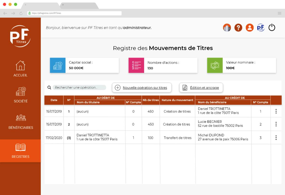 """Capture d'écran de la rubrique """"registre"""" de l'application PF Titres"""