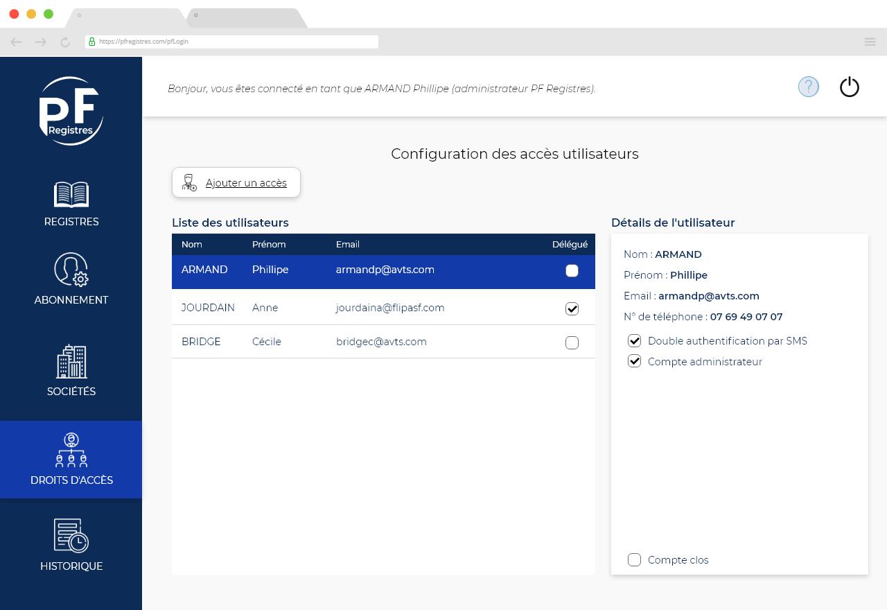 """Capture d'écran de la rubrique """"Portfolio"""" de l'application PF Registres"""