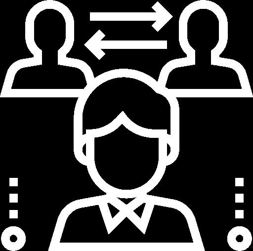 Icone représentant un échange d'informations entre plusieurs personnes
