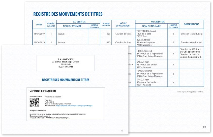 Capture d'écran d'un registre des mouvement de titres avec son certificat de traçabilité