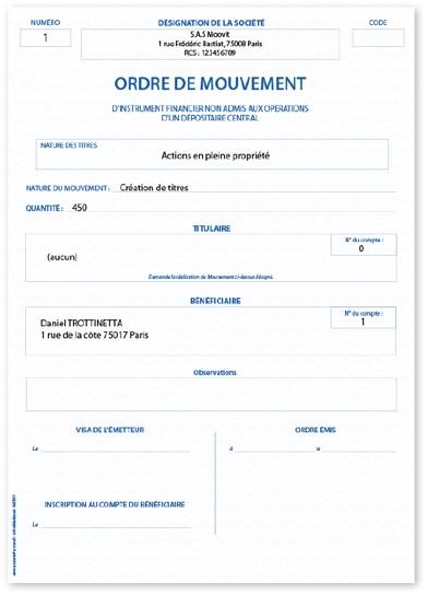 Capture d'écran d'un ordre de mouvement en PDF